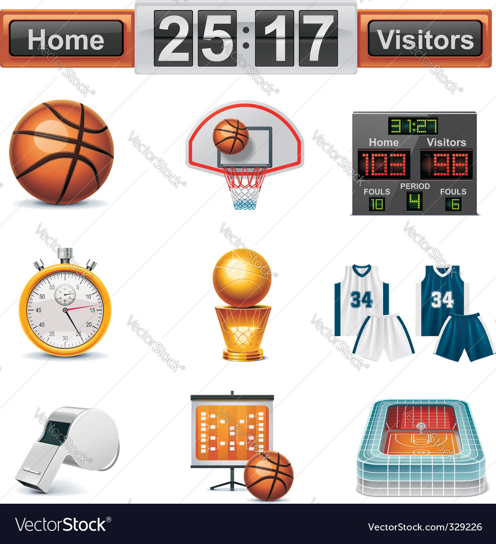 basketball icon set vector | Price: 5 Credit (USD $5)