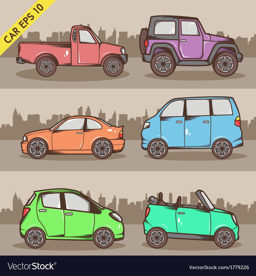 Cartoon car set 2 vector | Price: 1 Credit (USD $1)