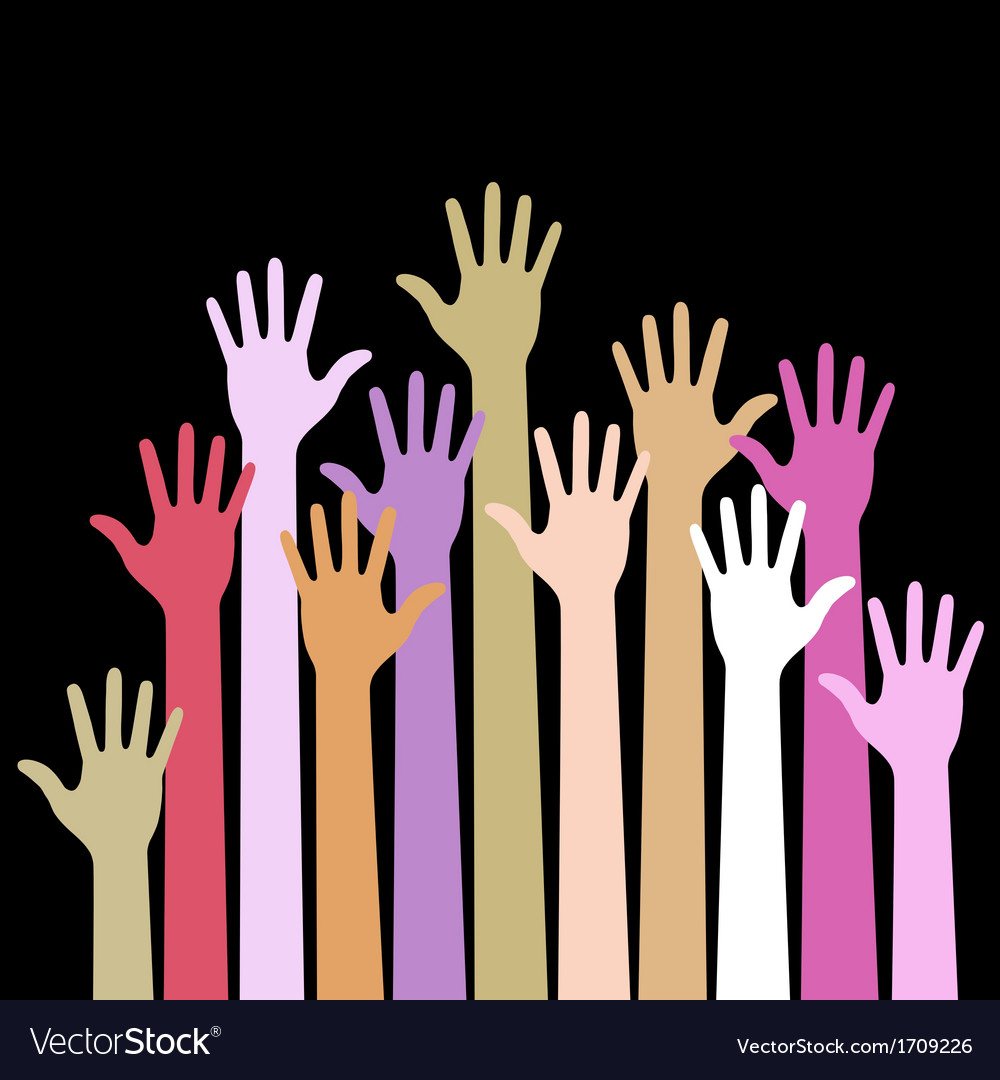 Colorful up hands on black background vector | Price: 1 Credit (USD $1)