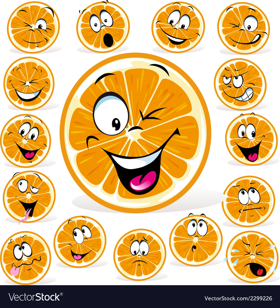 Orange cartoon with many expressions vector | Price: 1 Credit (USD $1)