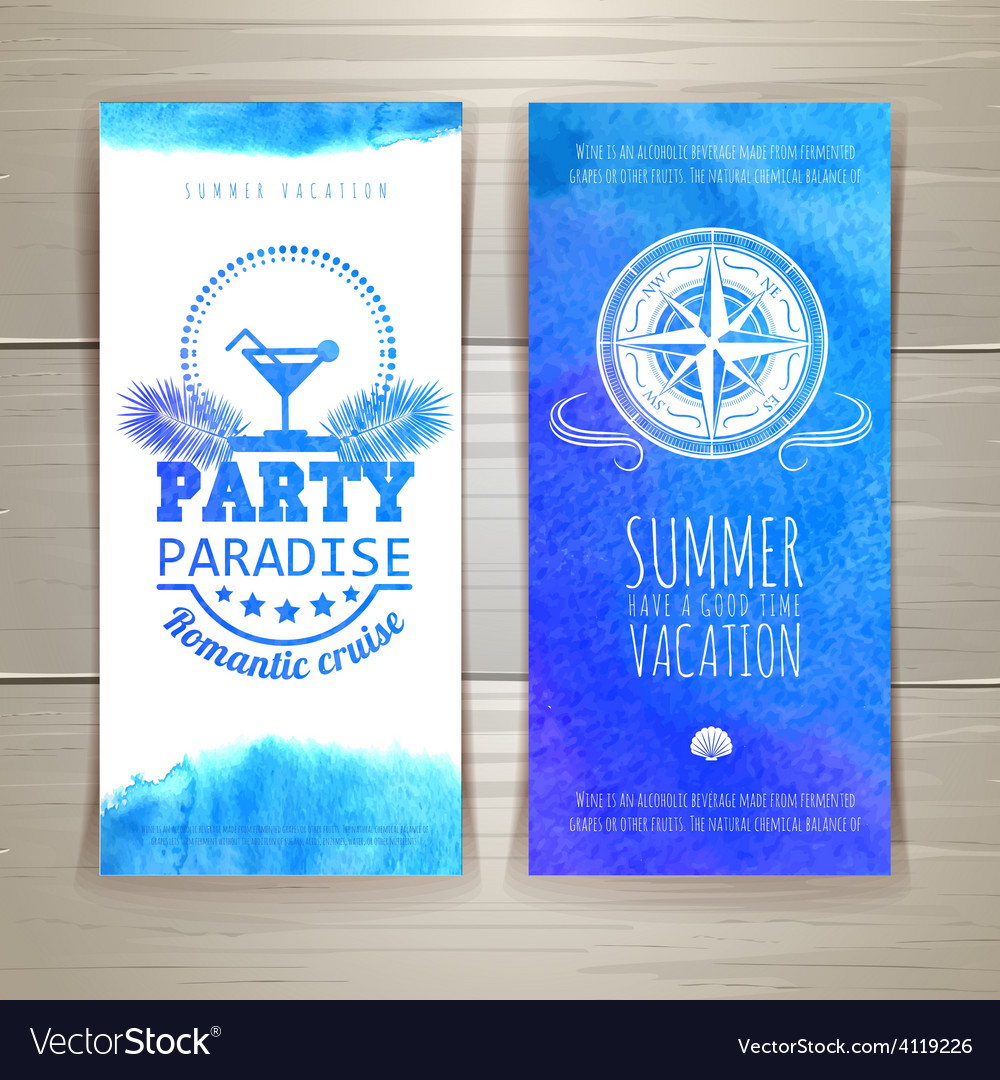 Set of blue watercolor summer banners vector | Price: 1 Credit (USD $1)