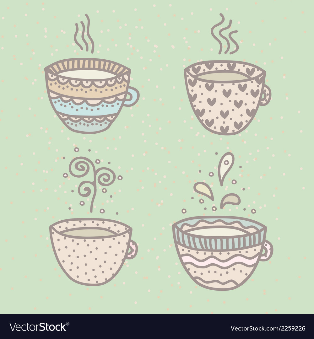 Set of cute cups vector | Price: 1 Credit (USD $1)