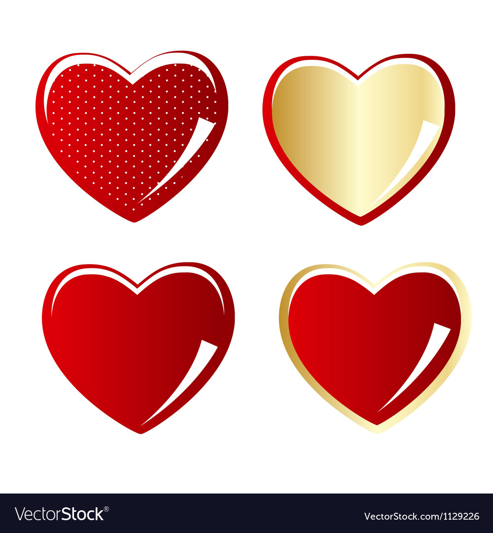 Set of red and gold heart vector | Price: 1 Credit (USD $1)