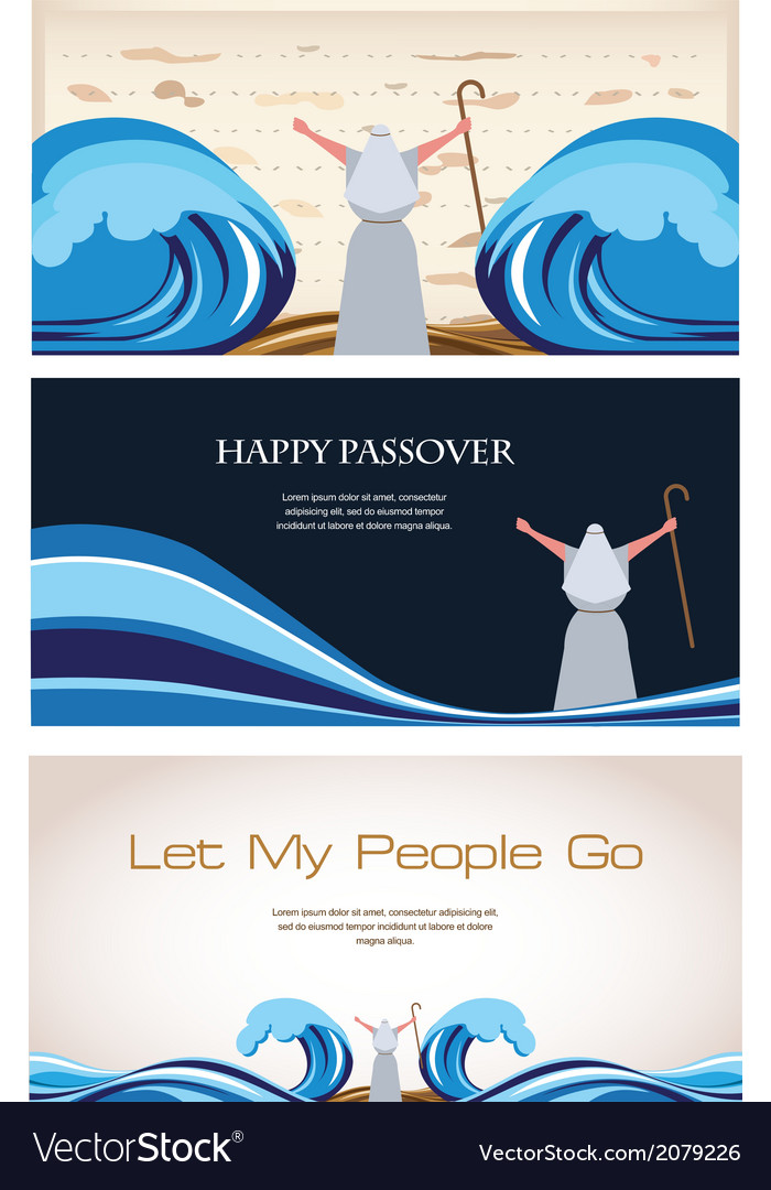 Three banners of passover jewish holiday vector | Price: 1 Credit (USD $1)