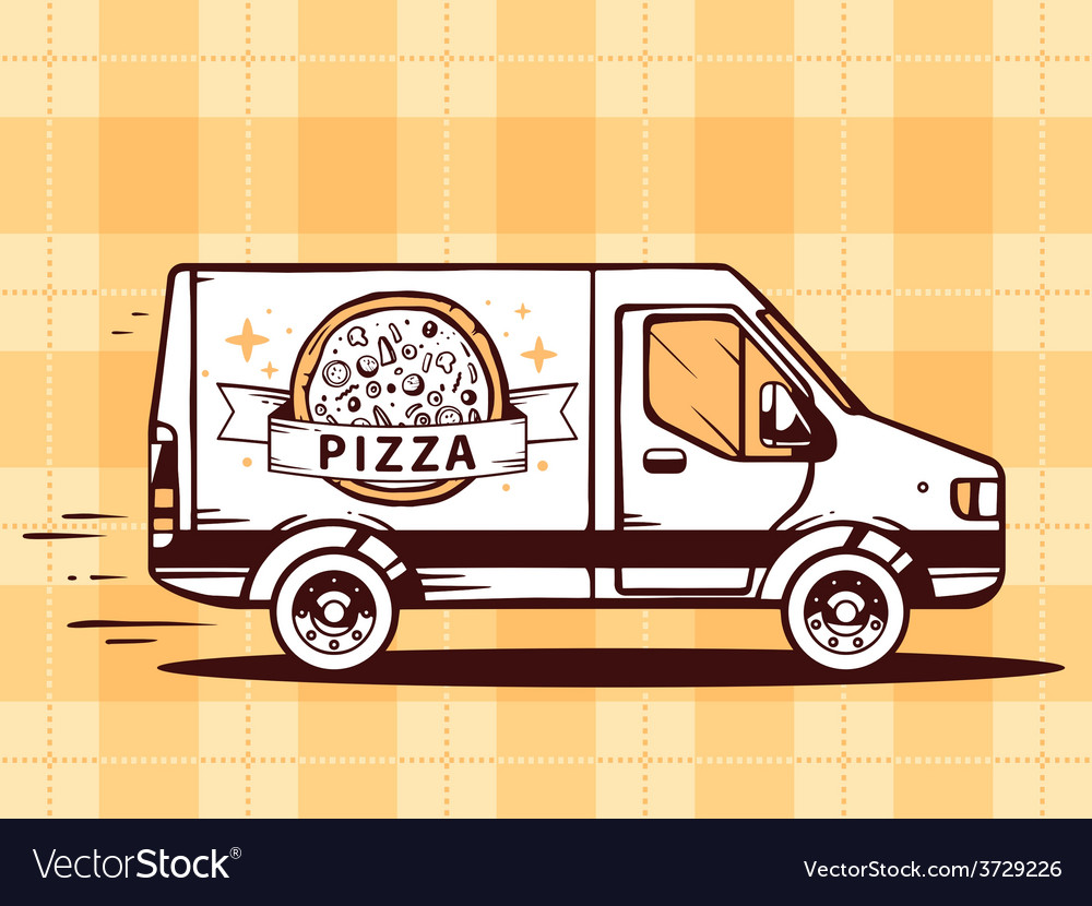 Van free and fast delivering pizza to cus vector | Price: 1 Credit (USD $1)