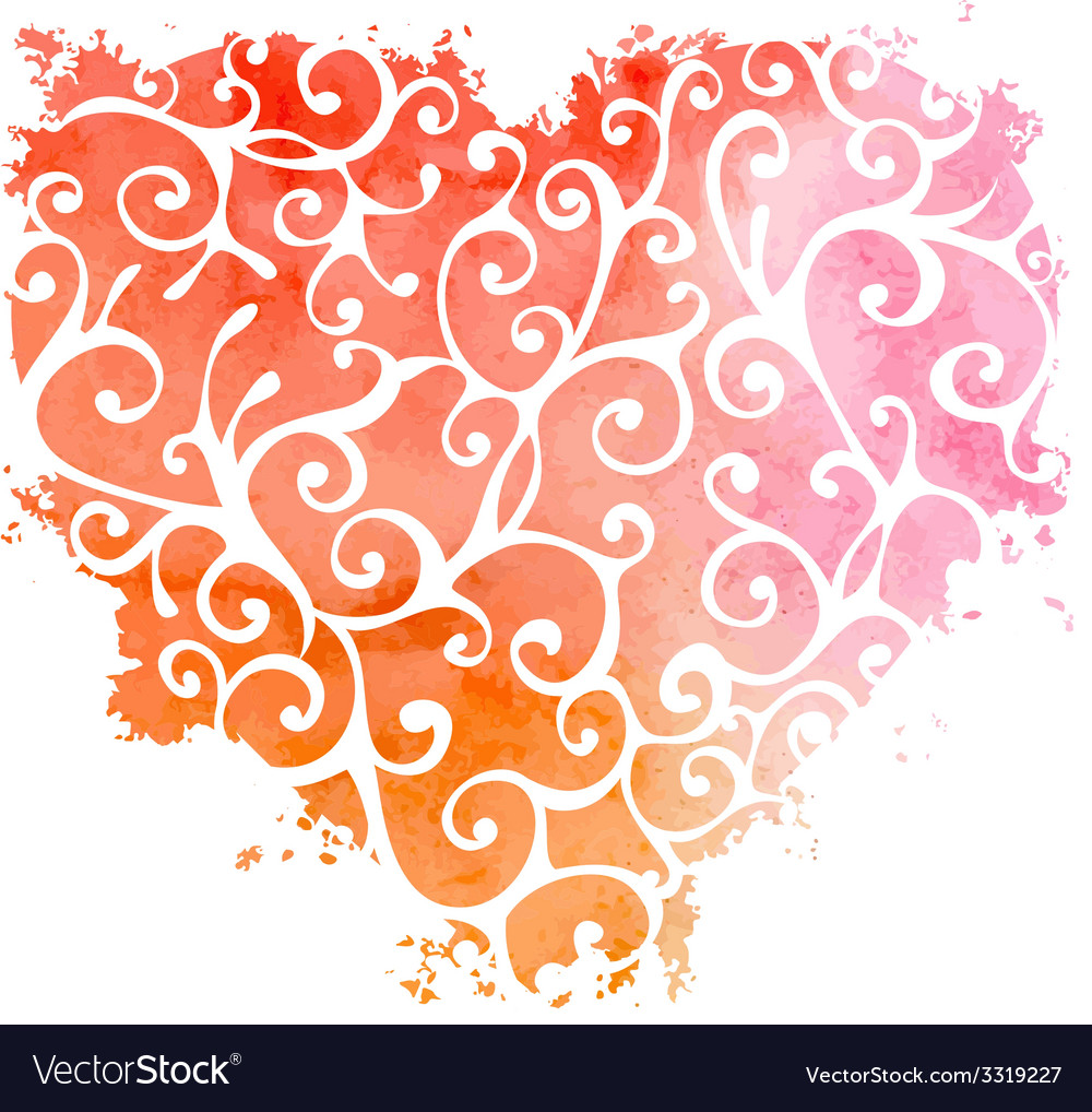 Abstract hand-drawn watercolor heart vector | Price: 1 Credit (USD $1)