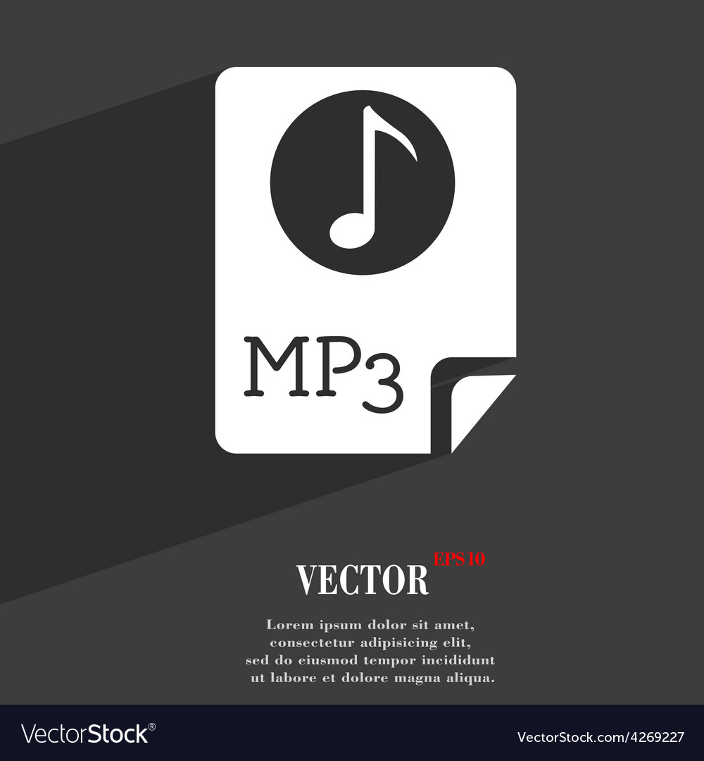 Audio mp3 file icon symbol flat modern web design vector | Price: 1 Credit (USD $1)