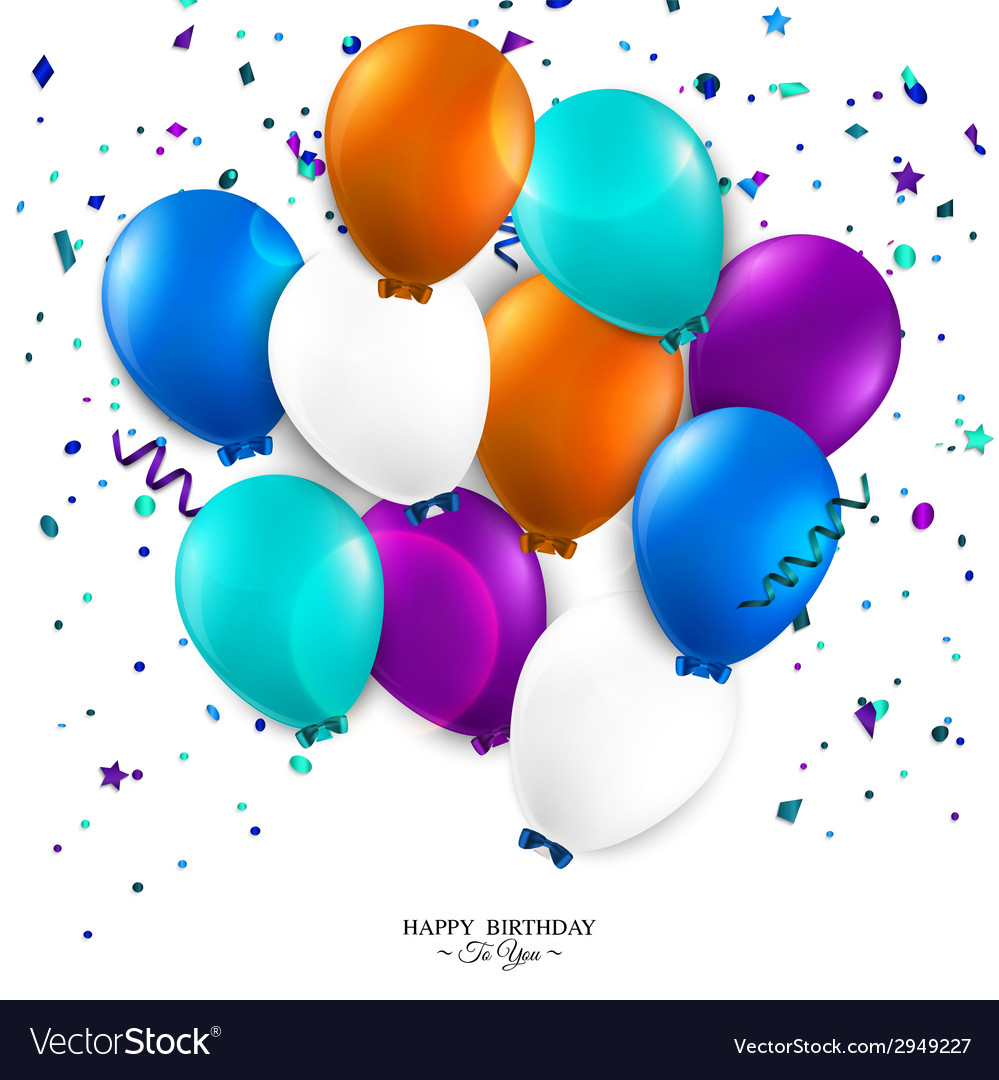 Birthday card with balloons and birthday text vector   Price: 1 Credit (USD $1)