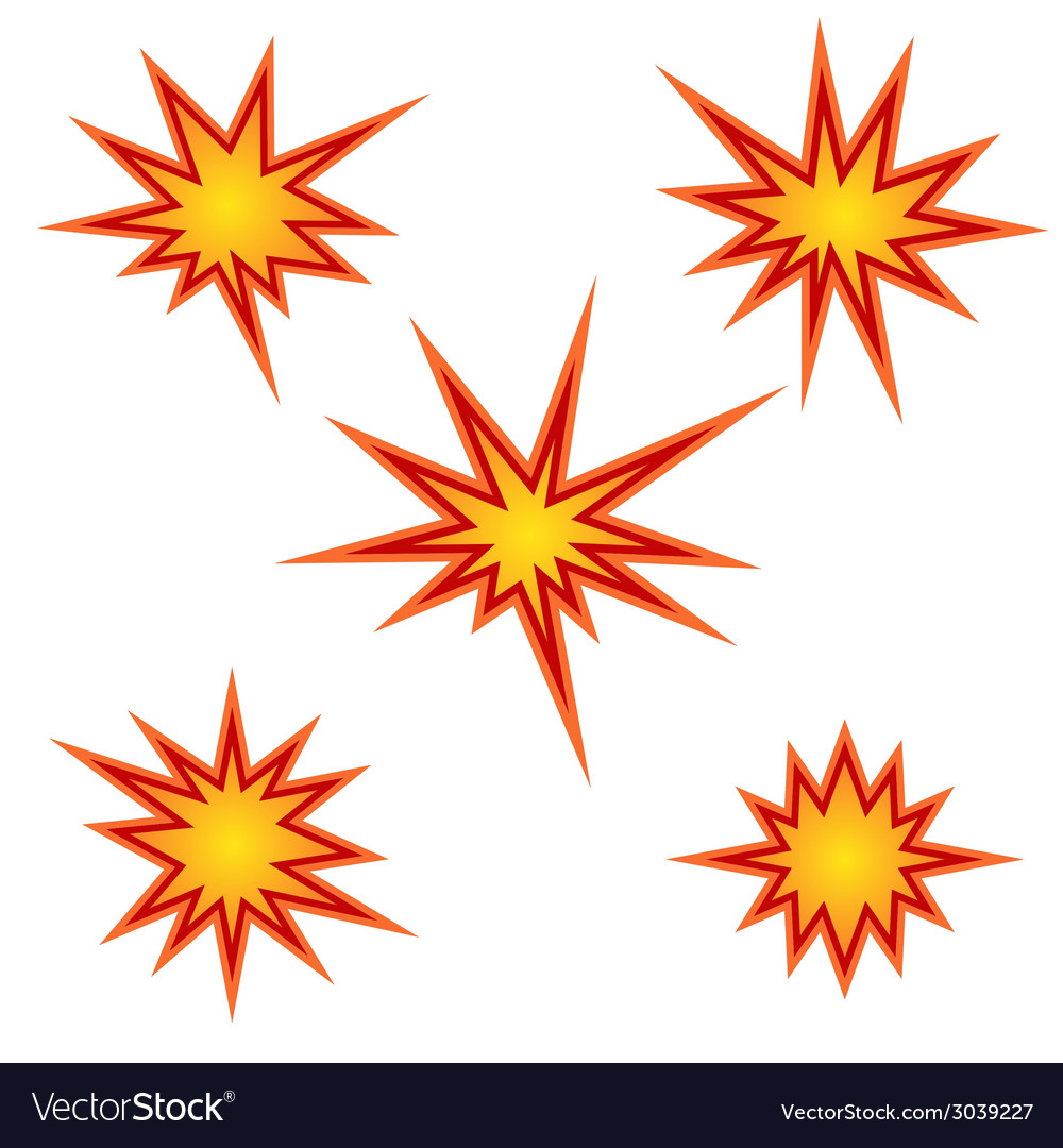 Bursting star set vector | Price: 1 Credit (USD $1)