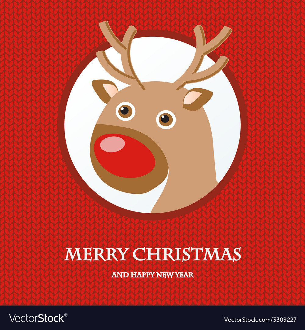 Christmas card with reindeer in santa hat vector | Price: 1 Credit (USD $1)
