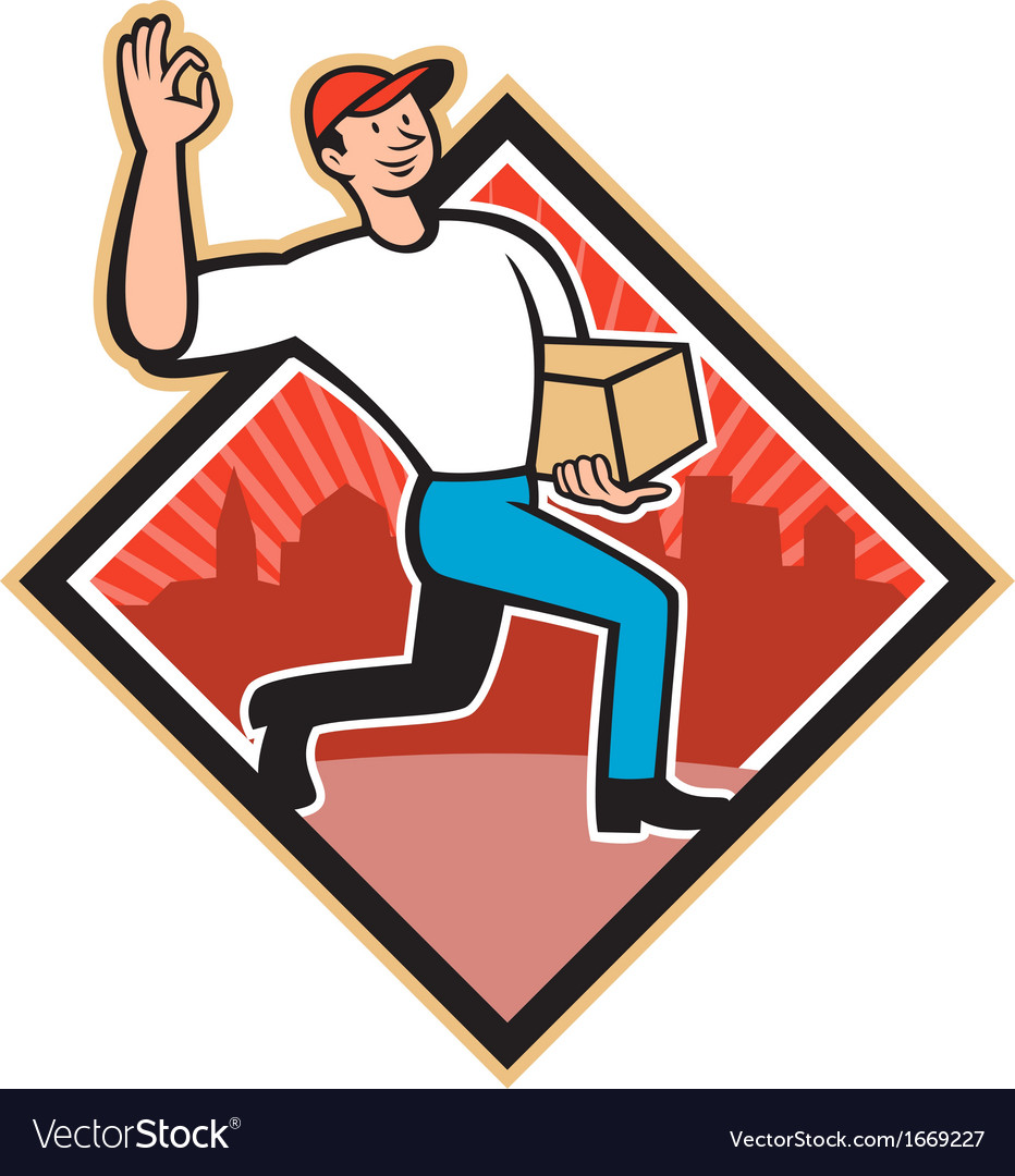 Delivery worker deliver package cartoon vector | Price: 1 Credit (USD $1)