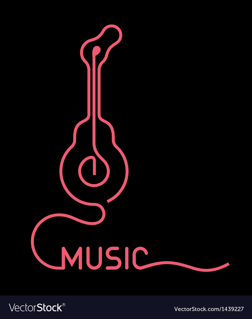 Guitar neon sign - vector | Price: 1 Credit (USD $1)