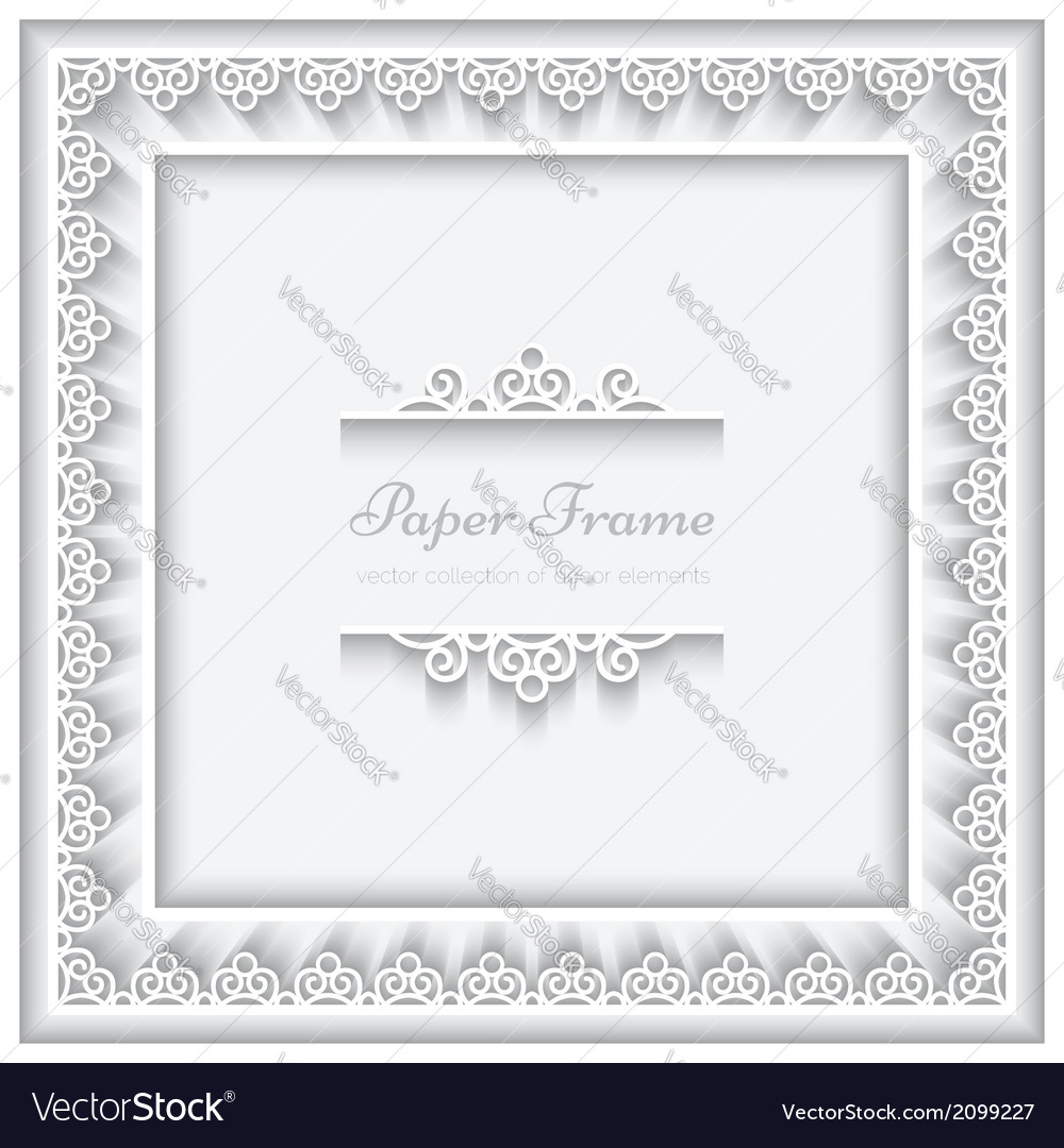 Paper lace square frame vector | Price: 1 Credit (USD $1)