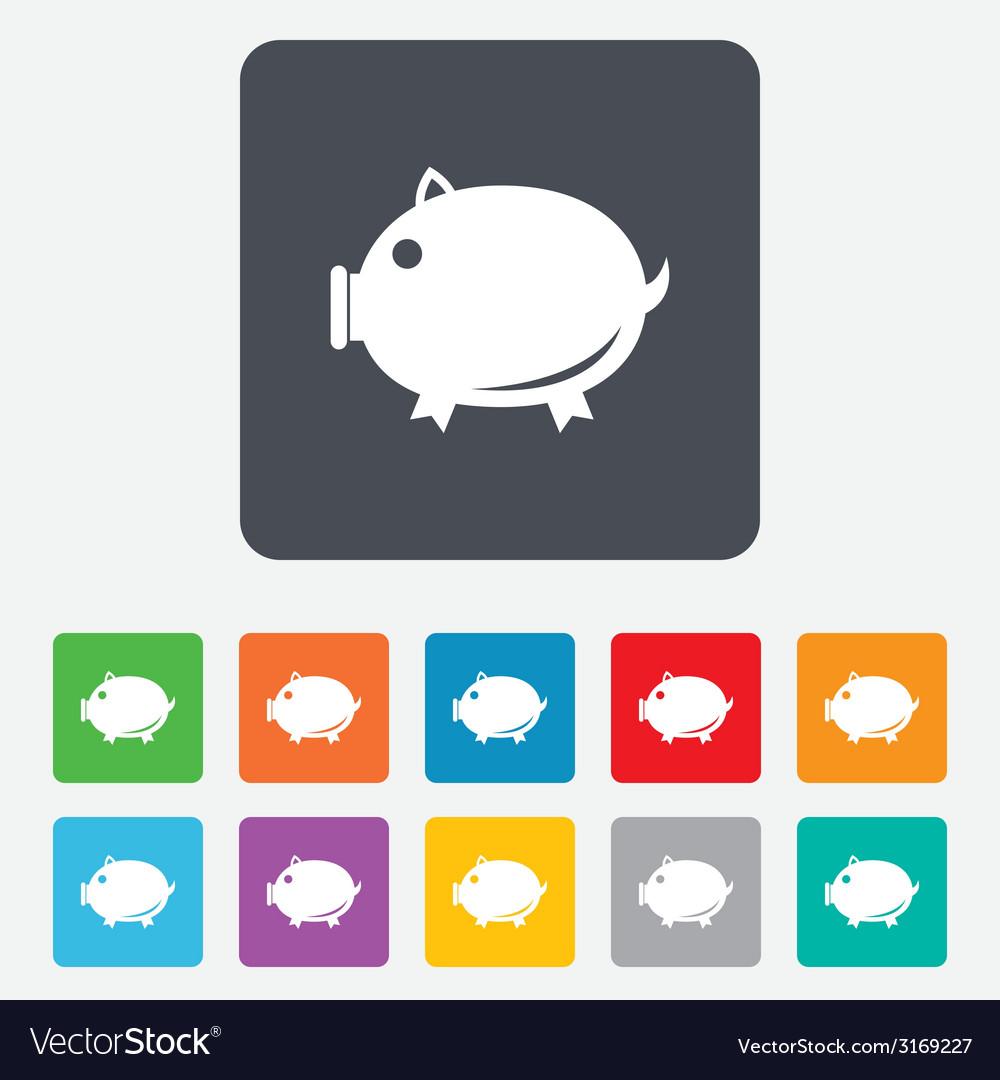 Piggy sign icon pork symbol vector | Price: 1 Credit (USD $1)