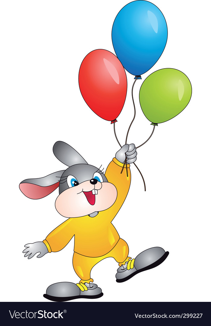 Rabbit with balloons vector   Price: 1 Credit (USD $1)