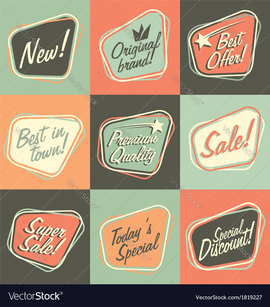Retro labels and stickers collection vector | Price: 1 Credit (USD $1)