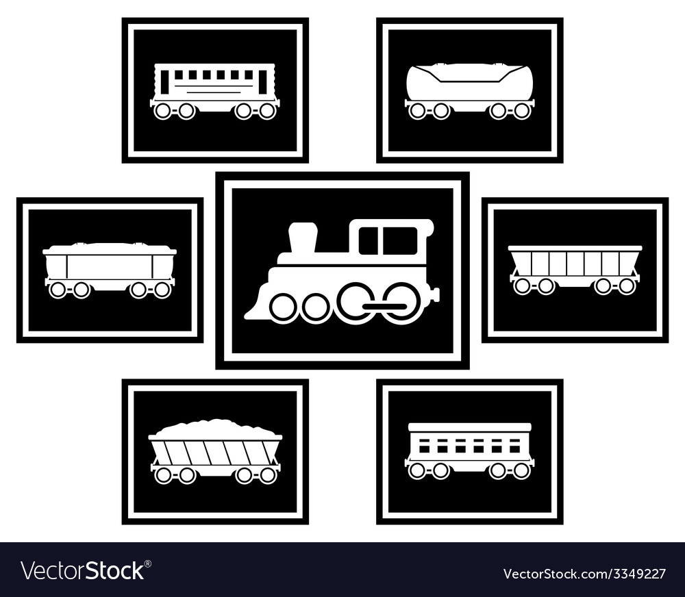 Set icons for railway transportation vector | Price: 1 Credit (USD $1)