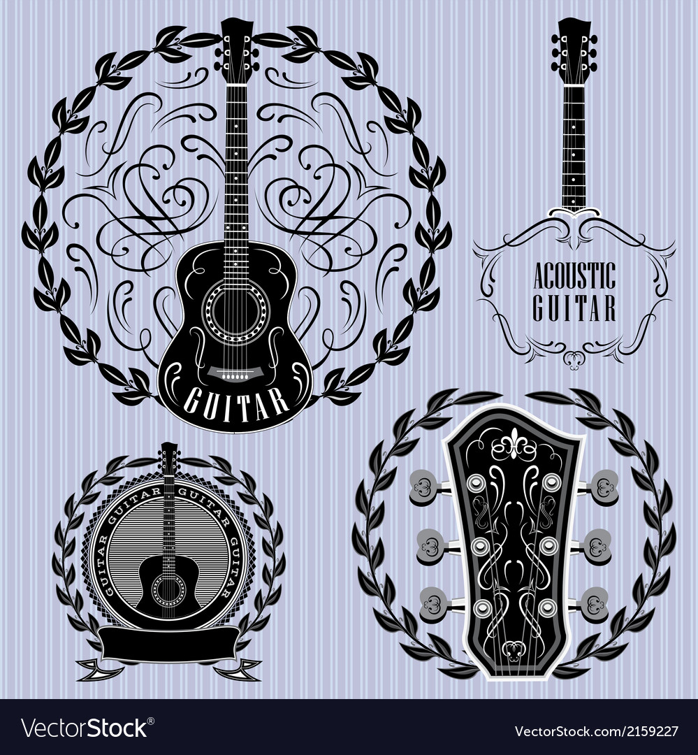 Set of labels with acoustic guitars vector | Price: 1 Credit (USD $1)