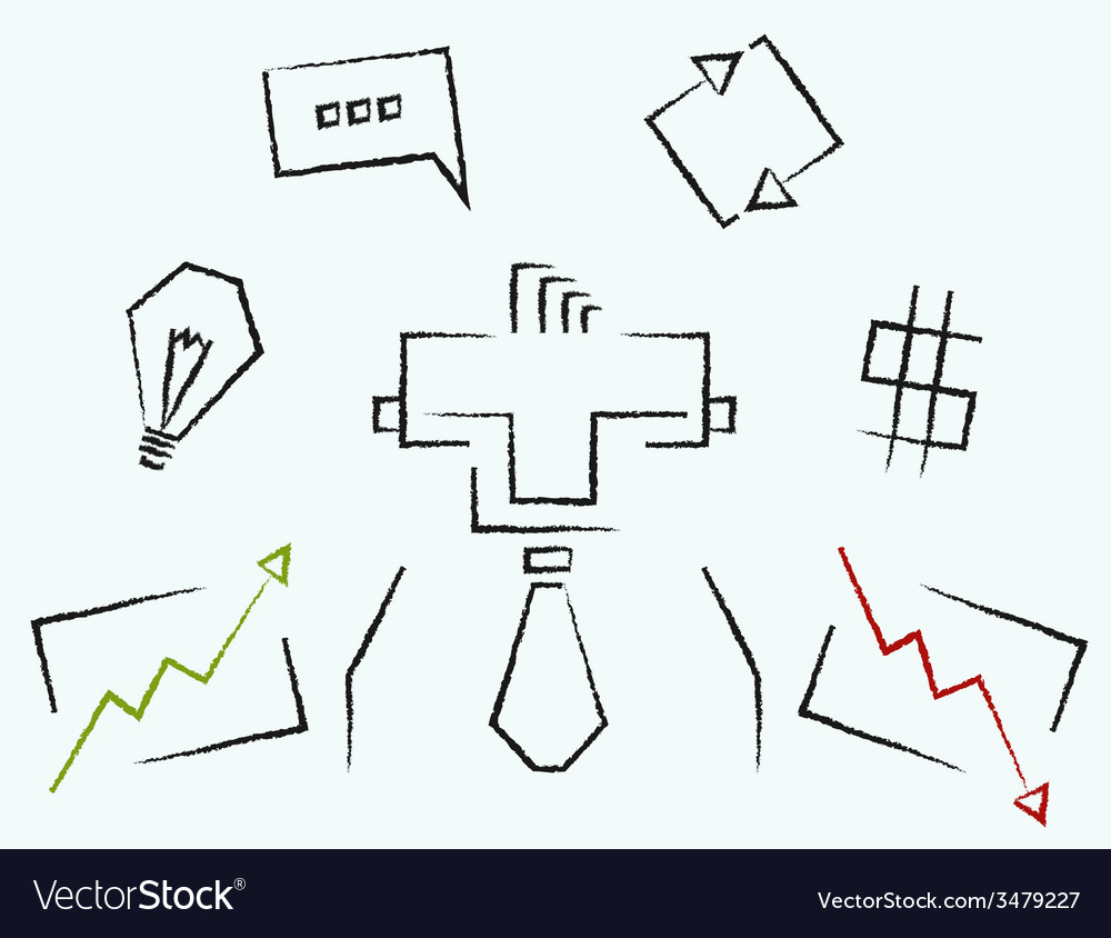 Sketch line art business icons vector | Price: 1 Credit (USD $1)