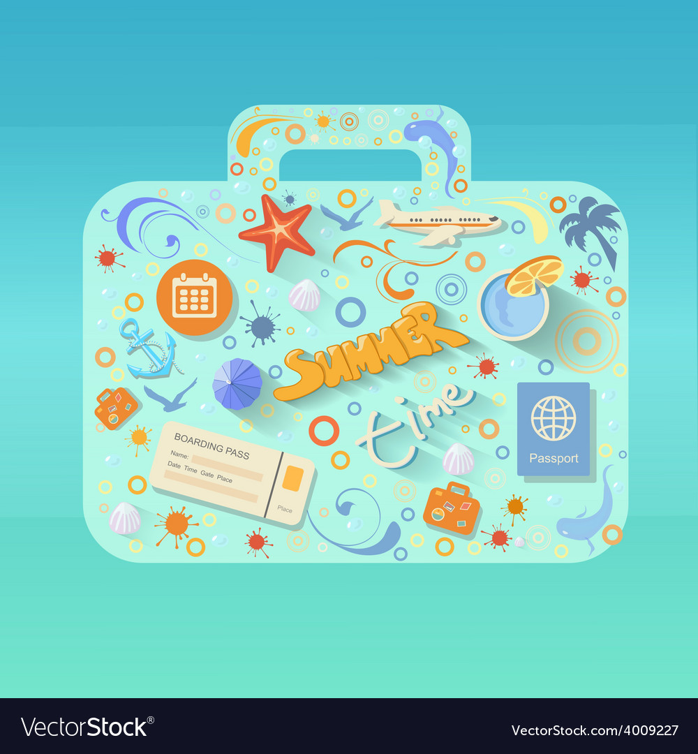 Summer poster made from icons vector | Price: 1 Credit (USD $1)