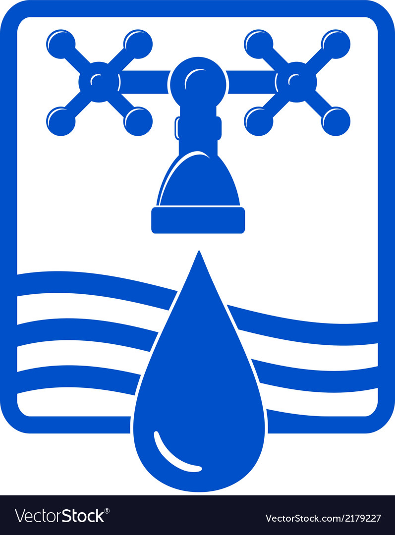 Water drop and spigot blue icon vector | Price: 1 Credit (USD $1)