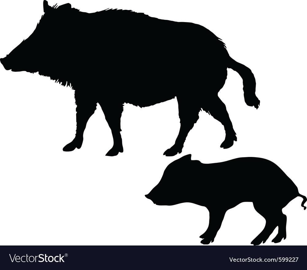 Wild boars silhouettes vector   Price: 1 Credit (USD $1)