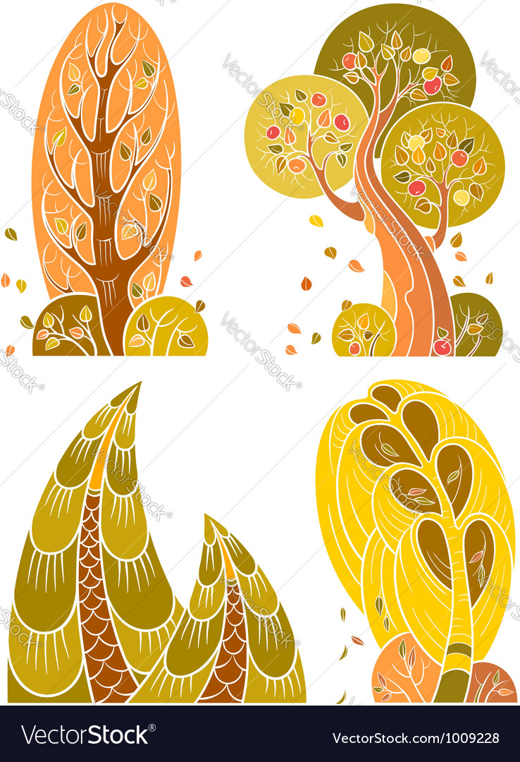 Autumn trees set in retro style vector | Price: 1 Credit (USD $1)