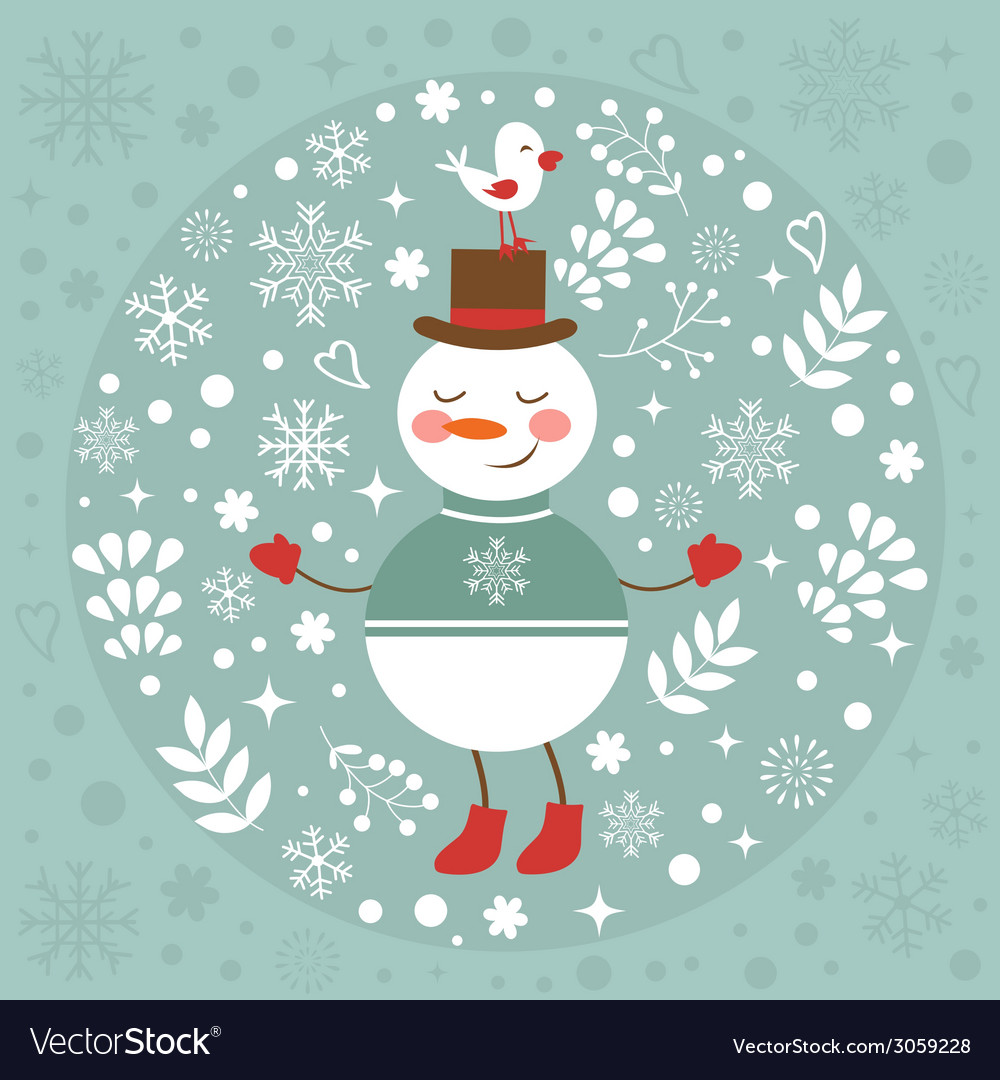 Beautiful christmas card with snowman and bird vector | Price: 1 Credit (USD $1)