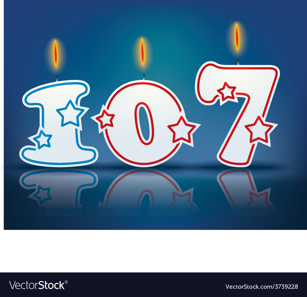 Birthday candle number 107 vector | Price: 1 Credit (USD $1)