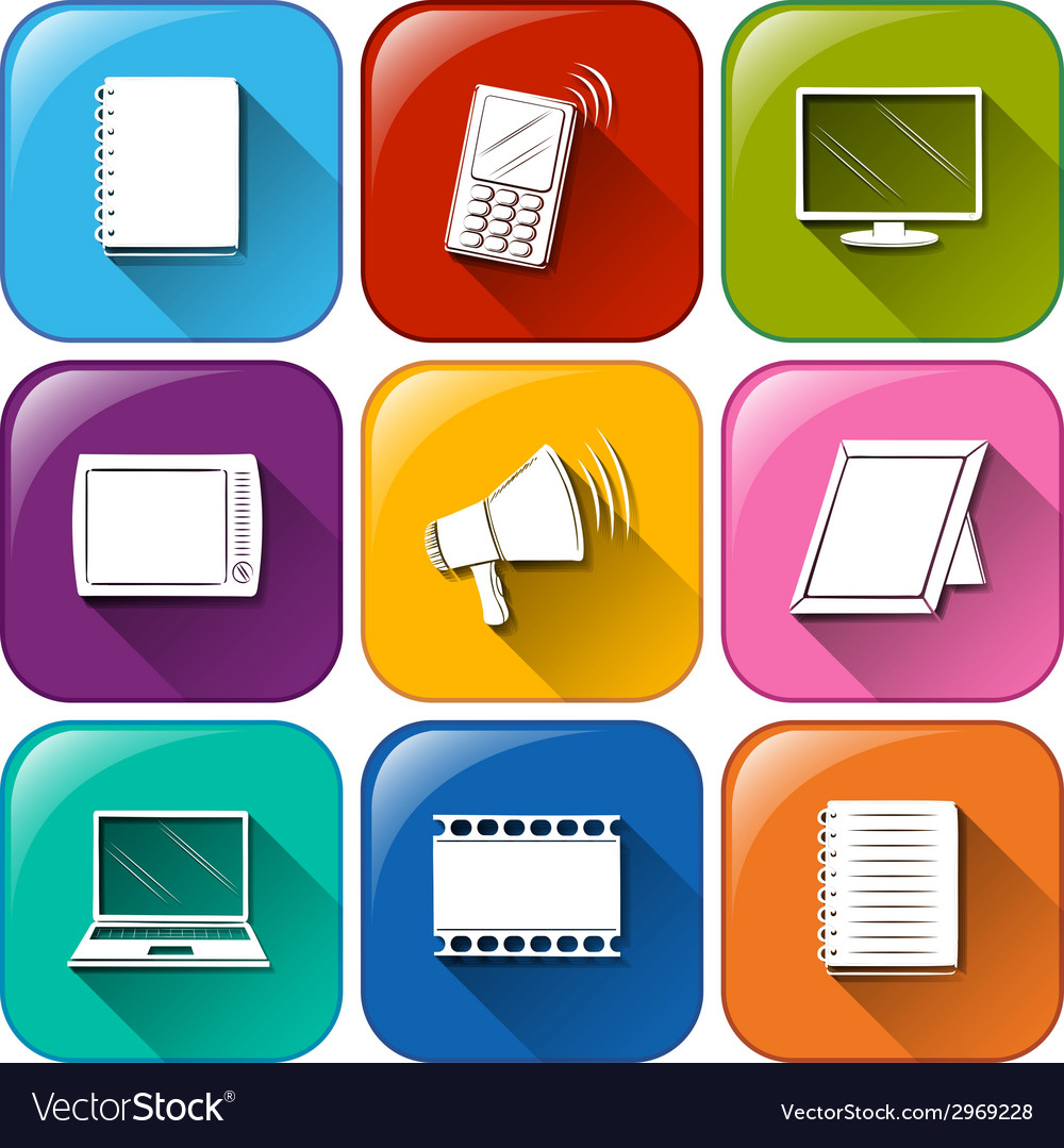 Buttons with the different communication tools vector | Price: 1 Credit (USD $1)