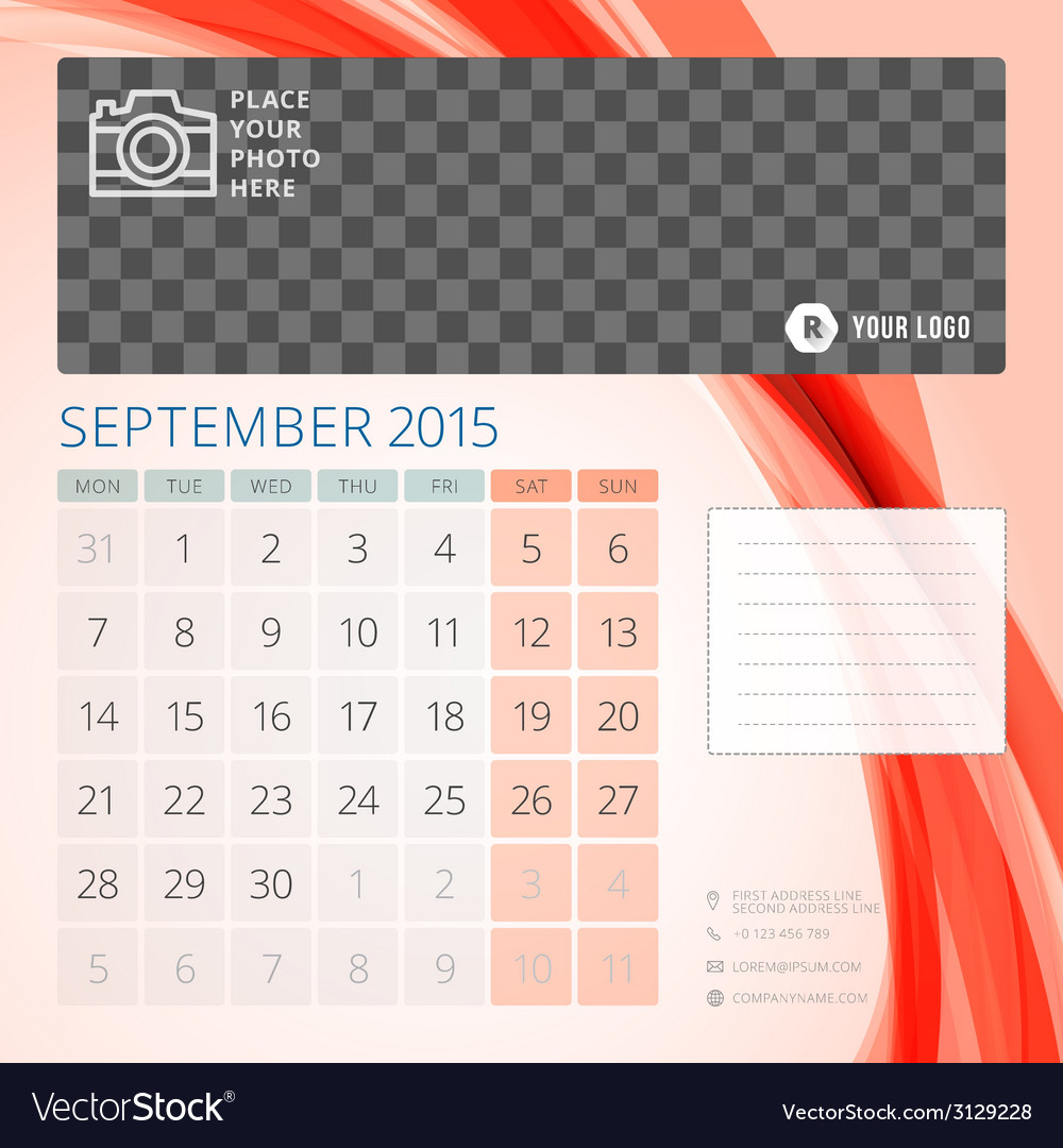 Calendar 2015 september template with place for vector | Price: 1 Credit (USD $1)