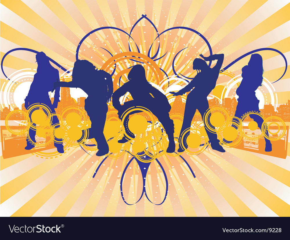 Dancing girls silhouette vector | Price: 3 Credit (USD $3)