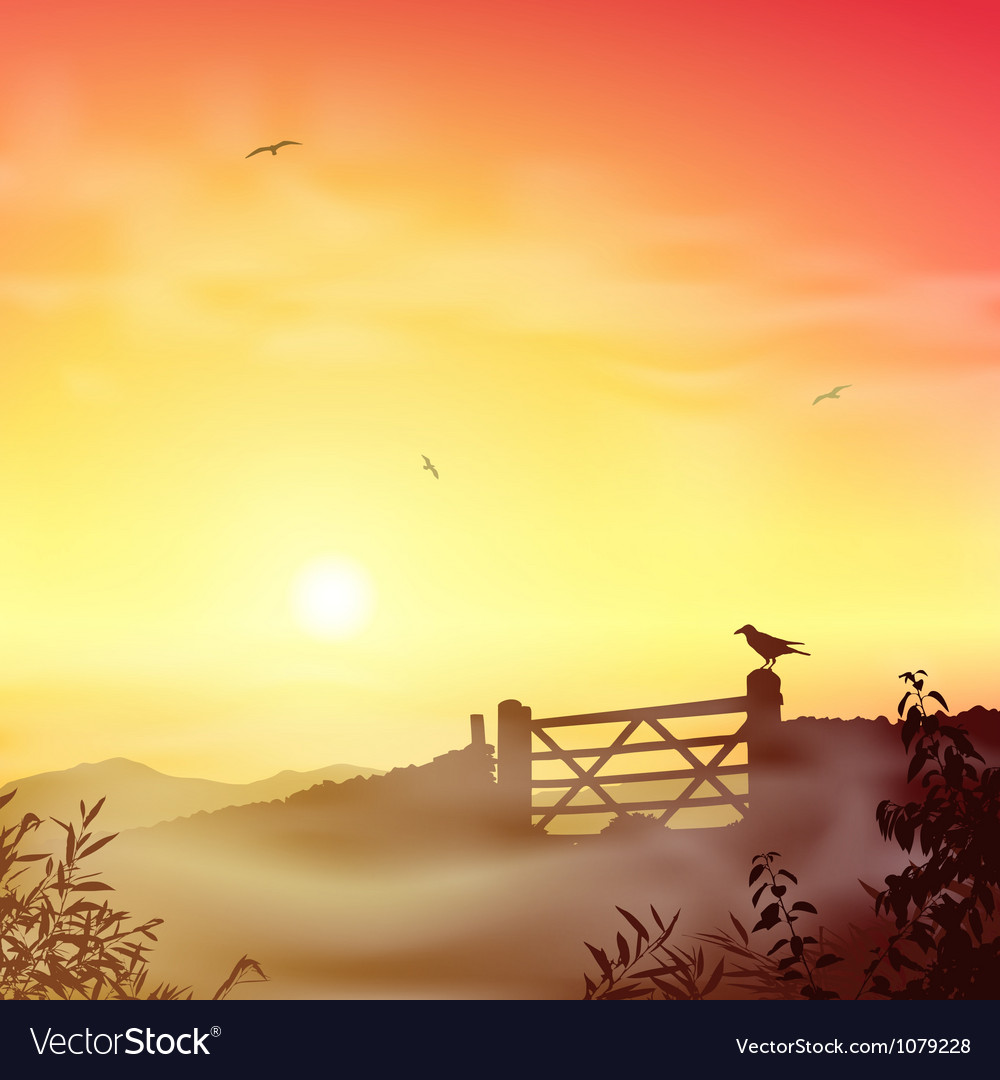 Misty morning landscape vector | Price: 1 Credit (USD $1)