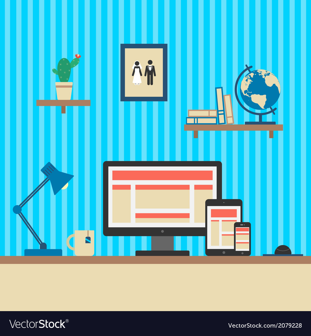 Office workplace responsive web design concept vector | Price: 1 Credit (USD $1)