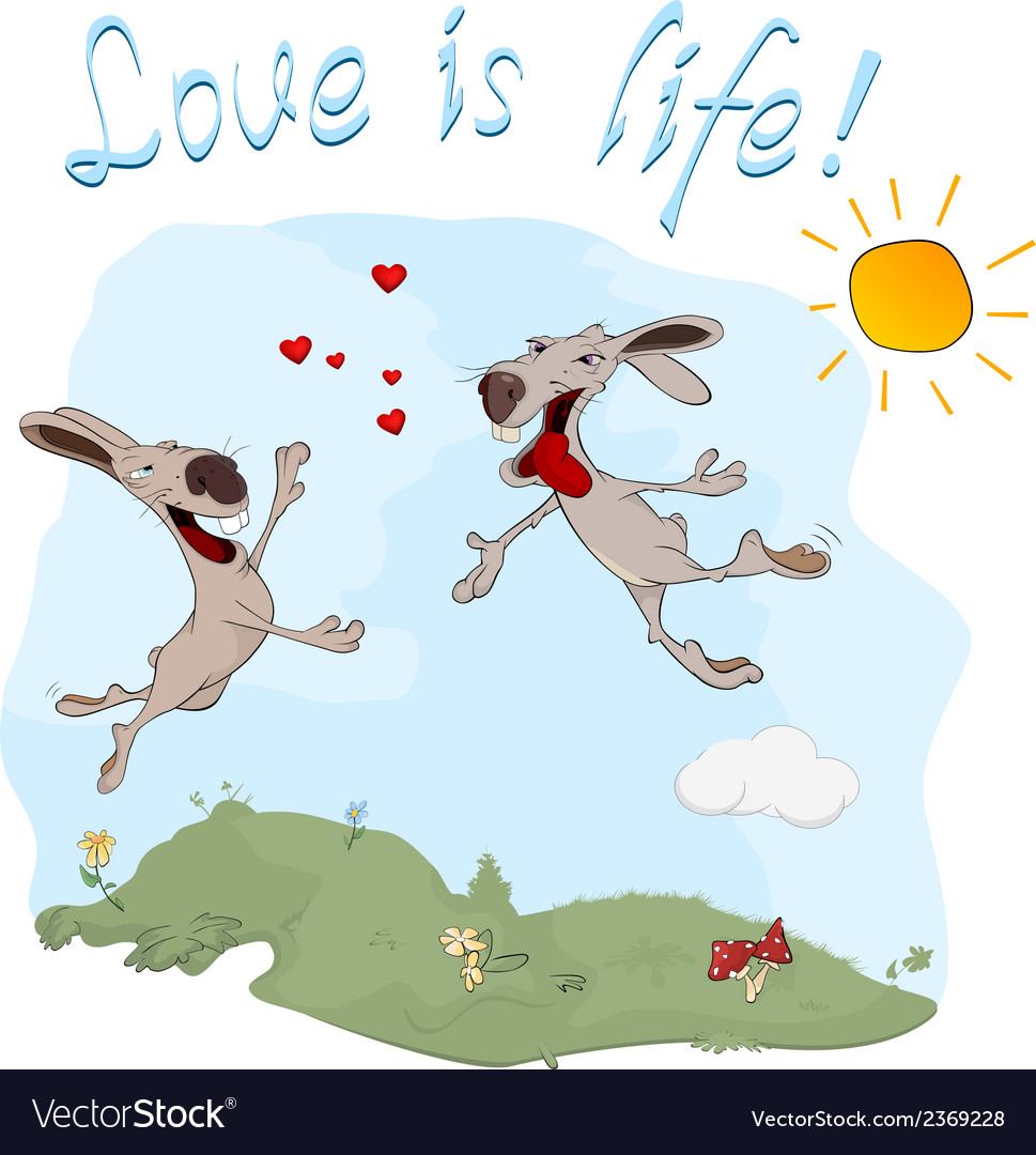 Rabbits and love postcard vector | Price: 1 Credit (USD $1)