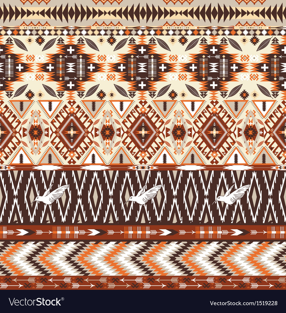 Seamless colorful aztec geometric tribal pattern vector | Price: 1 Credit (USD $1)