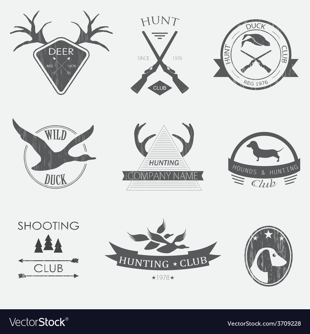 Set of vintage hunting labels and design elements vector | Price: 1 Credit (USD $1)