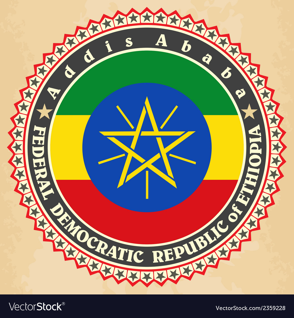 Vintage label cards of ethiopia flag vector | Price: 1 Credit (USD $1)