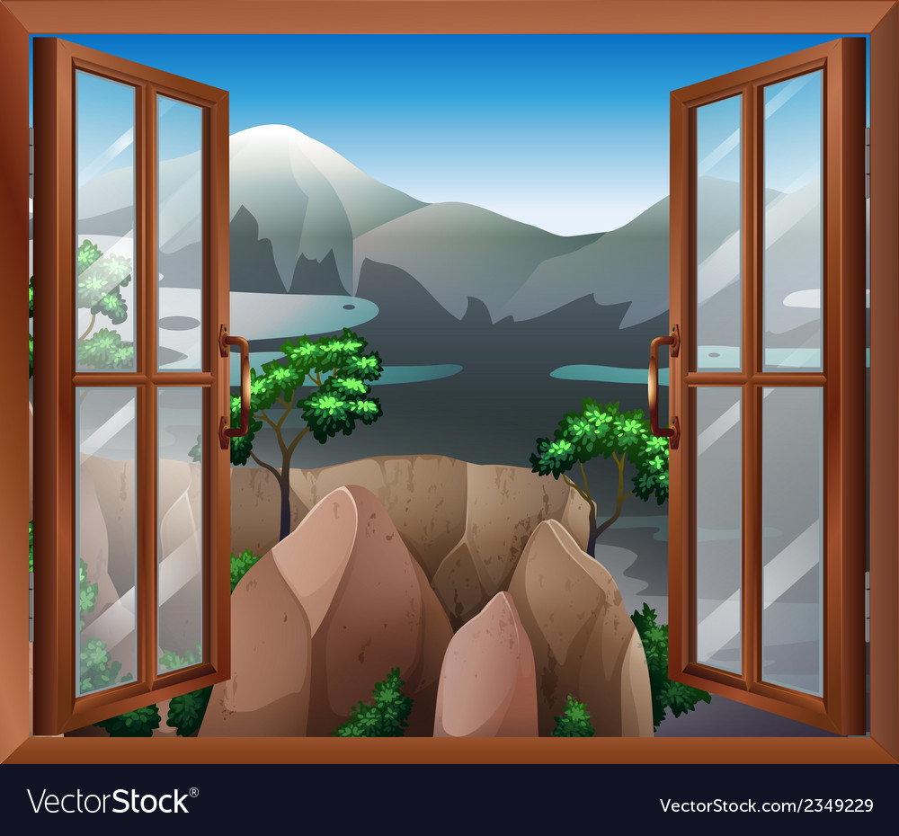 An open window with a view of the cliff vector | Price: 1 Credit (USD $1)