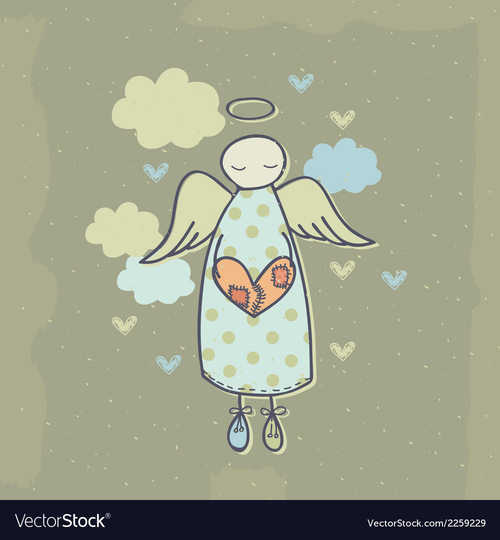 Angel on a cloud with heart vector | Price: 1 Credit (USD $1)