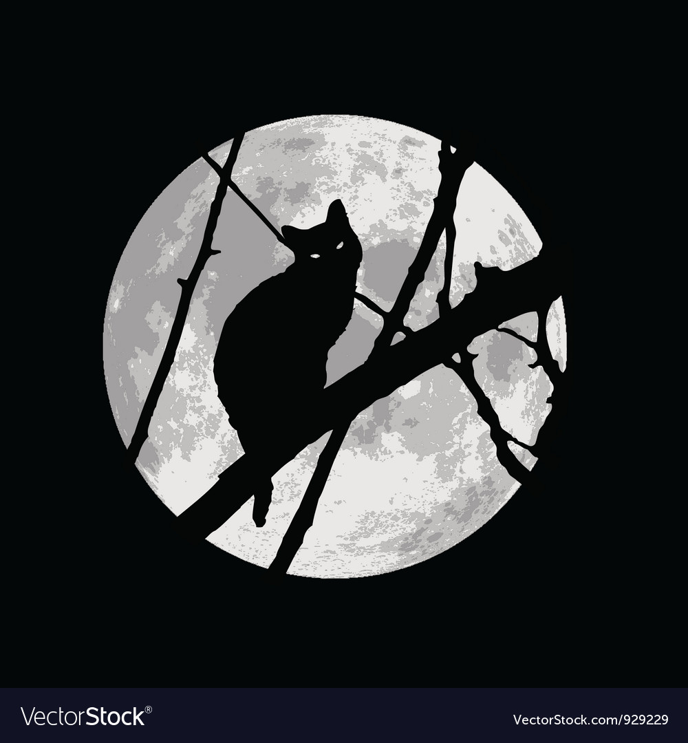 Black cat silhuette on a tree under the moon vector | Price: 1 Credit (USD $1)