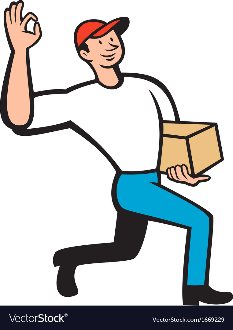Delivery courier deliver package cartoon vector | Price: 1 Credit (USD $1)