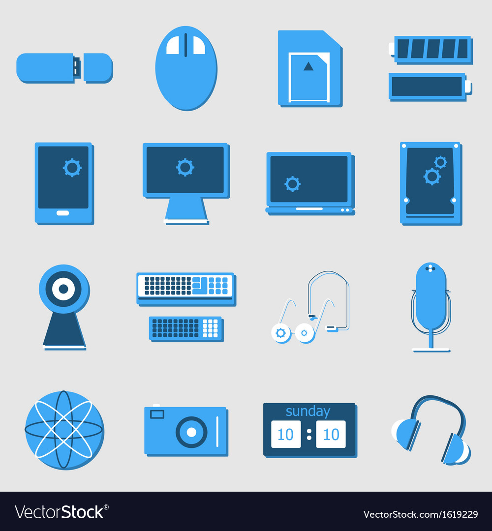 Electronic device color icons on light background vector | Price: 1 Credit (USD $1)