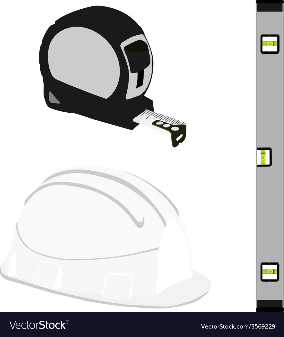 Grey level construction building helmet and tape vector | Price: 1 Credit (USD $1)