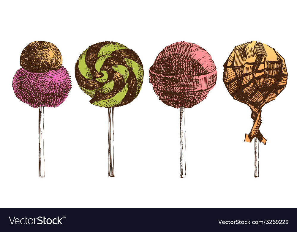 Hand drawn lollipops vector | Price: 1 Credit (USD $1)