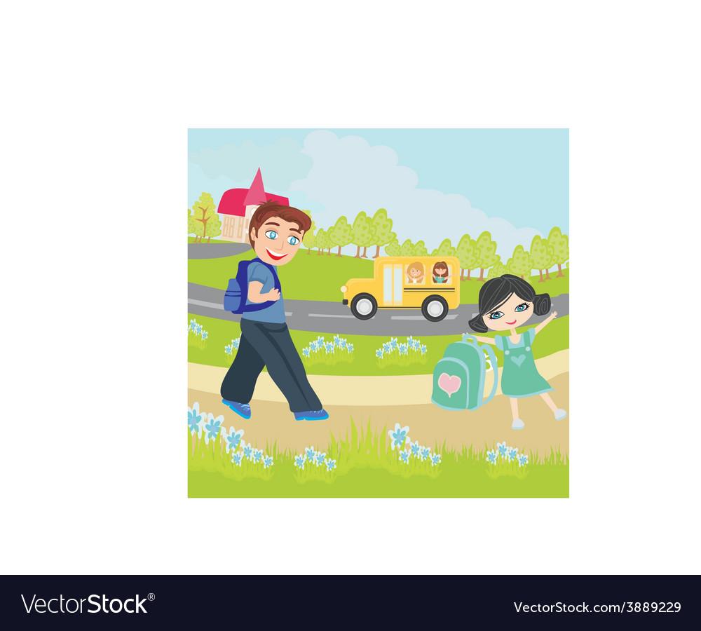 Happy kids go to school vector   Price: 1 Credit (USD $1)