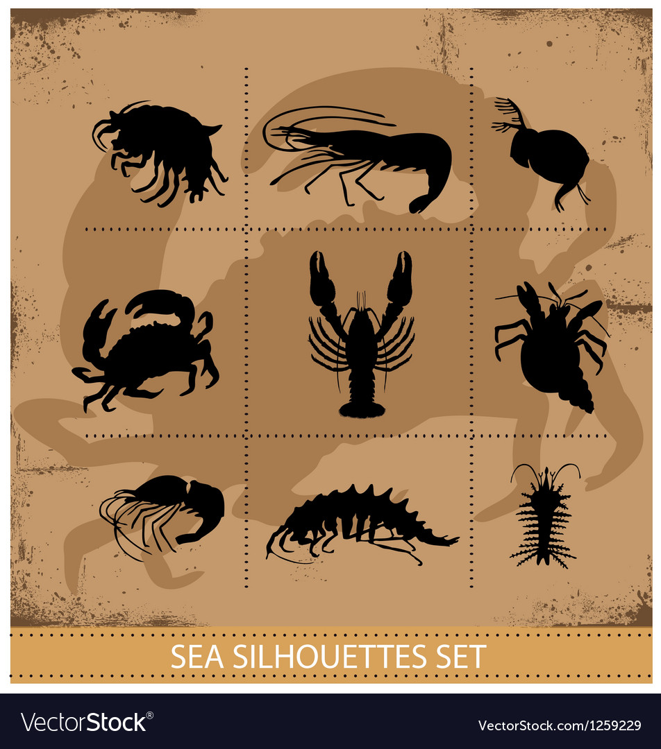 Lobsters and crabs silhouettes signs vector | Price: 1 Credit (USD $1)