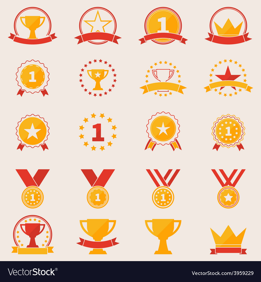 Set of awards and victory icons vector | Price: 1 Credit (USD $1)