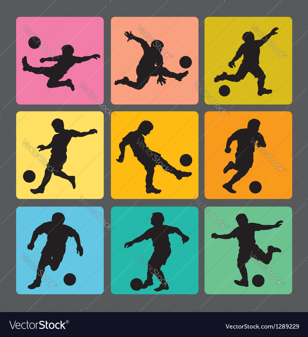 Soccer boy silhouettes 1 vector | Price: 1 Credit (USD $1)