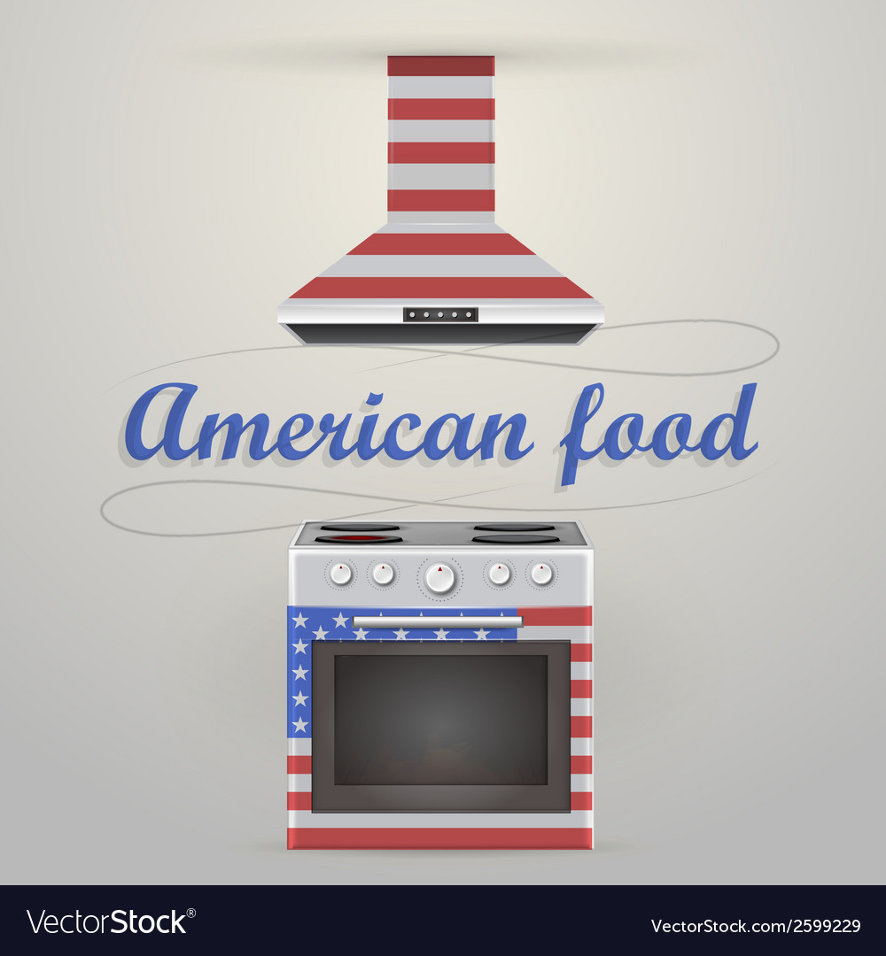 Stove and extractor american food vector | Price: 1 Credit (USD $1)